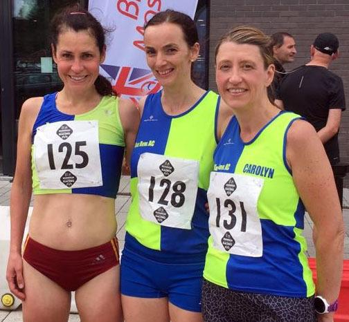From left, Vale Royal Athletics Club's Sarah Murphy, Liz Renondeau and Carolyn Dooley were victors again in the women's 35-44 age-group category during the British Masters 5kRoad Championship at Horwich