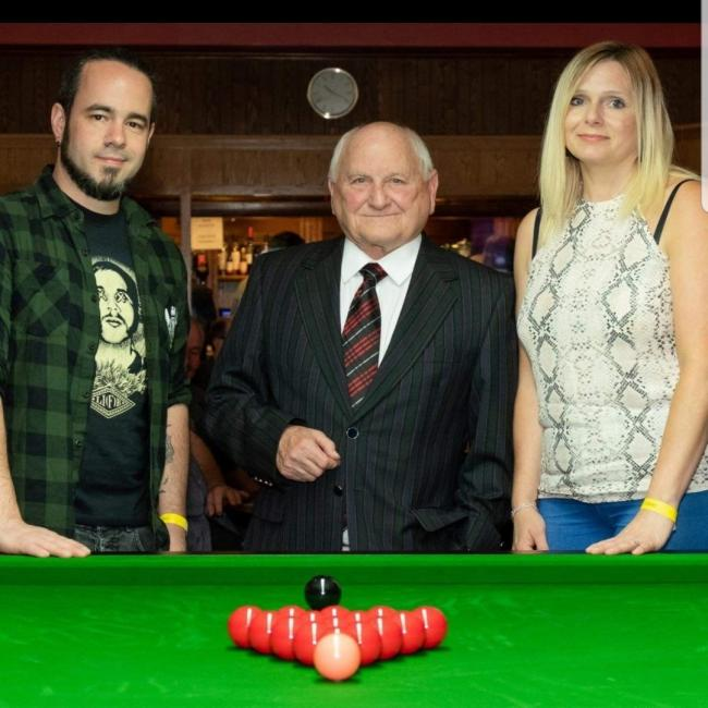 Saul's dad Hayden, league chairman Neville Malam, and family friend Michelle Fletcher