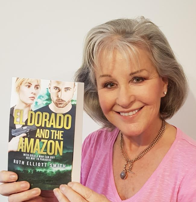 Ruth Elliott-Smith with her new book El Dorado and the Amazon