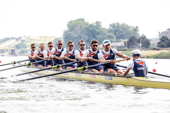 Tom Ford, a former student at The Grange School in Hartford, in the bow seat of Great Britain's men's eight during their heat at the World Rowing Cup in Poznan. Picture: Nick Middleton/British Rowing