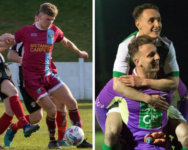 1874 Northwich winger Taylor Kennerley, left, and Danny Taberner - Northwich Victoria's number one - have both signed contracts. The alternative for their respective clubs was to risk losing them. Pictures: Ian Dutton/Angela Buckley