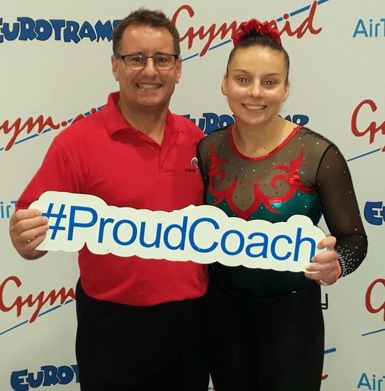 Mark Hudson, coach at Cheshire Gymnastics in Northwich and Alisha Evanson after the latter's success in her category at British Gymnastics' Trampoline and Tumbling National Development Plan Finals