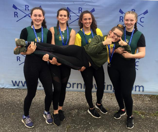 From left, Northwich Rowing Club's Isabella Wishart, Grace Sperring-Toy, Cara Brook, Olivia Frost and Izzy Garlick following their victory in an under 14s girls' quad scull at Runcorn Junior Regatta