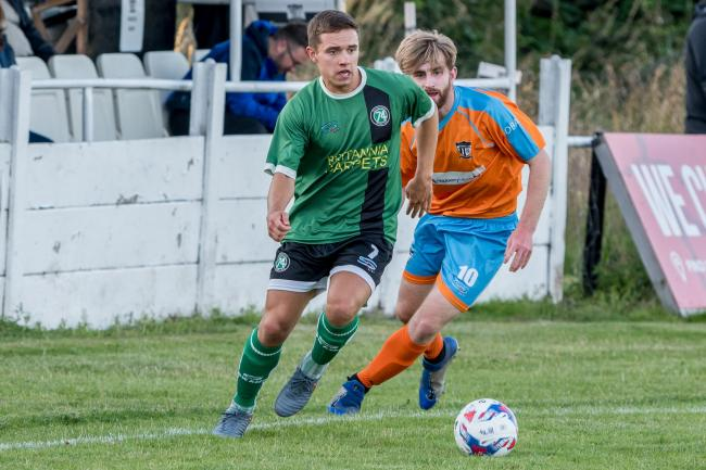 Harry Cain has made a positive impression since making his debut for 1874 Northwich during a friendly at Hyde United. The versatile attacker adds to the team's offensive options. Picture: Ian Dutton.