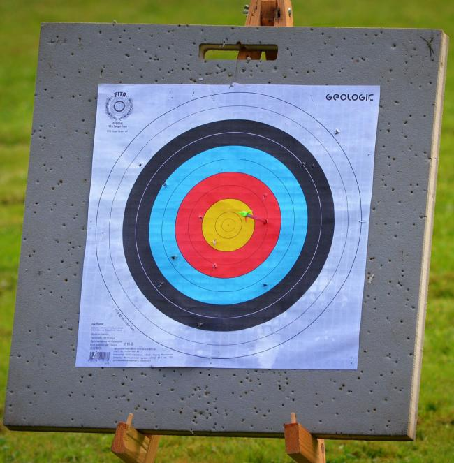 Rhys Morrillo, who tried archery for the first time with Winnington Park Bowmen, has demonstrated his improvement during the Junior National Outdoor Championships at Lilleshall