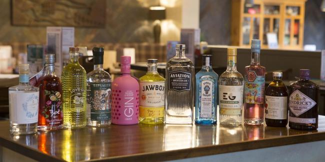 The selection of Gins on offer at The Penny Black over the 17-day festival