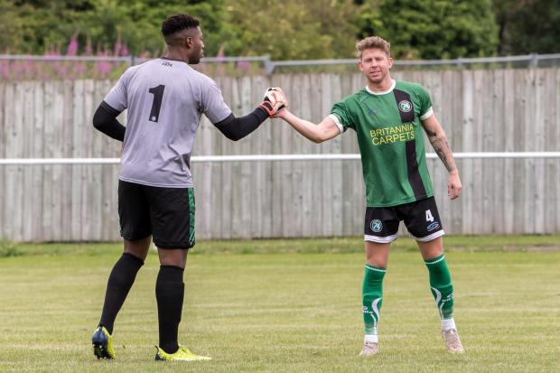 Northwich Guardian: Goalkeeper Tony Aghayere, left, was one of 1874 Northwich's most reliable performers in the second-half of last season, keeping eight clean-sheets.. Picture: Ian Dutton