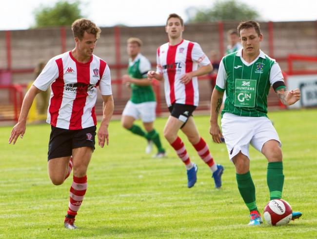 Joel Brownhill and his Northwich Victoria teammates have home advantage when Whitchurch Alport visit Wincham Park on the opening day of a new North West Counties League season tomorrow. Picture: Angela Buckley/Truly Photogenic