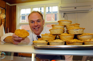 Northwich Guardian: Nick Birtwisle gets ready to celebrate baking the 30millionth pie Picture by Geoff Statham g093632