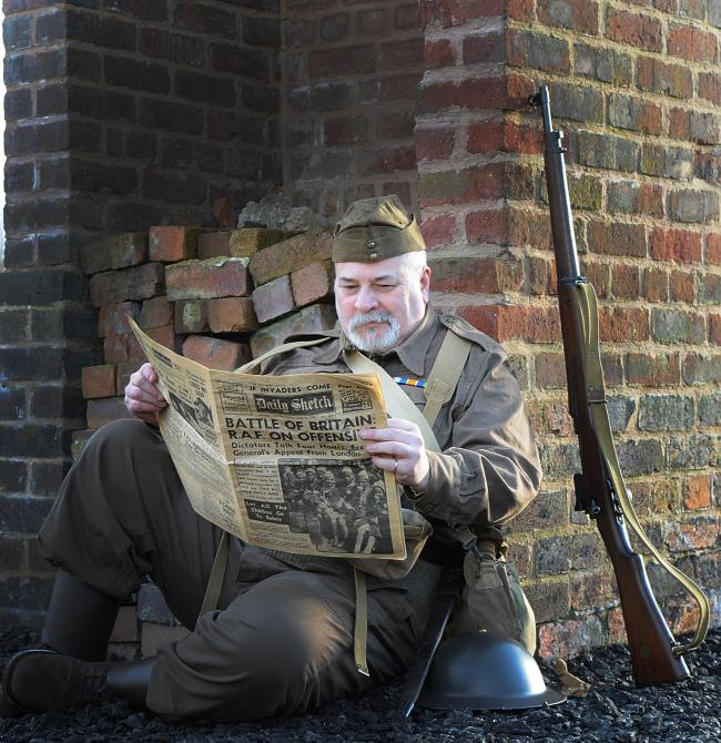 Colin Mann from 'V for Victory' historical re-enactment organisation, dressed as a Second World War soldier