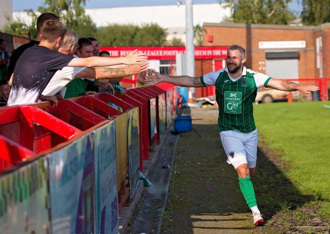 Jamie Reed's first goal for Northwich Victoria. Picture: Angela Buckley