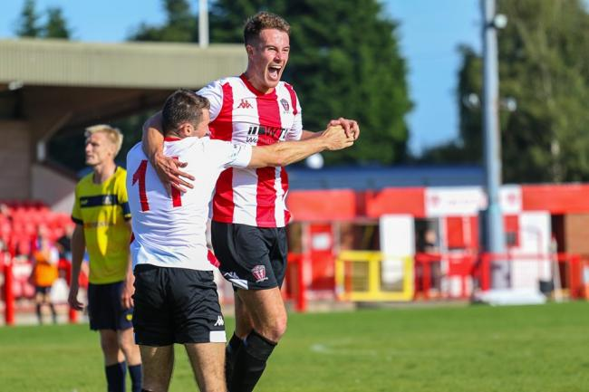 Liam Goulding celebrates his winning goal against Gainsborough Trinity. Picture by Karl Brooks Photography