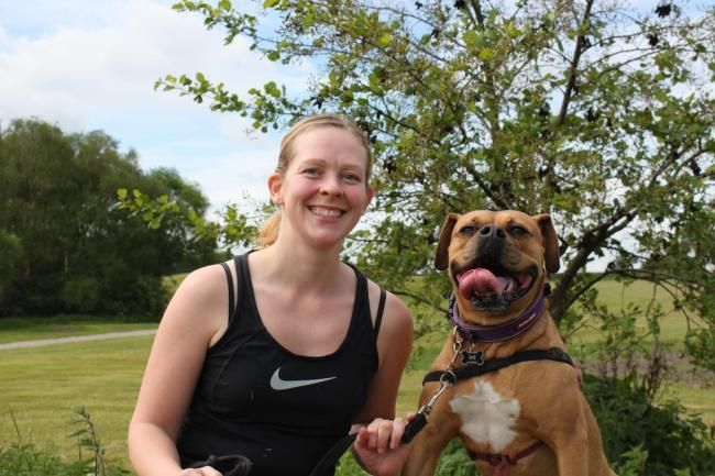 Jacqui Campuzana is looking forward to tackling Woof Mudder with boxer Nala
