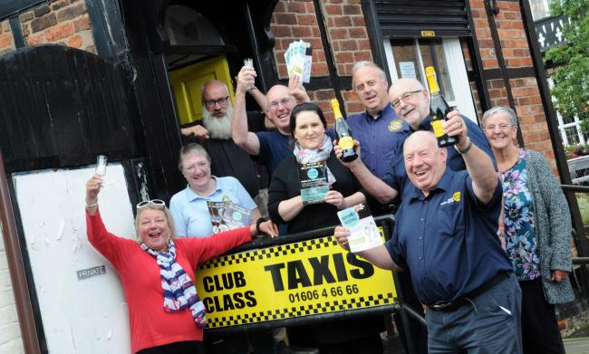 Northwich Beer and Drinks Festival committee members with event sponsors Club Class Taxis