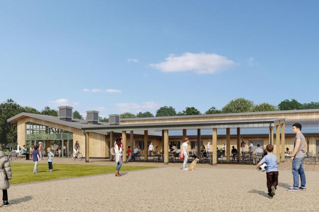 Artist impressions of the new wooden visitor centre