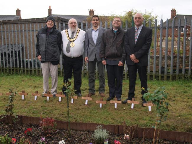 Nigel Nutt, Cllr Kevin Rimmer, Rev Dimitri Aldridge, Mark Goulborn and Graham Hallett at the new garden