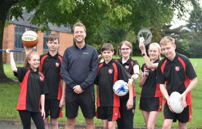 Rudheath Academy pupils with head of PE Richard Russell