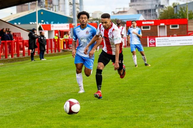 MJ Monaghan on the fly for Witton Albion as he made his debut against Stalybridge Celtic at the weekend. Picture: Karl Brooks Photography