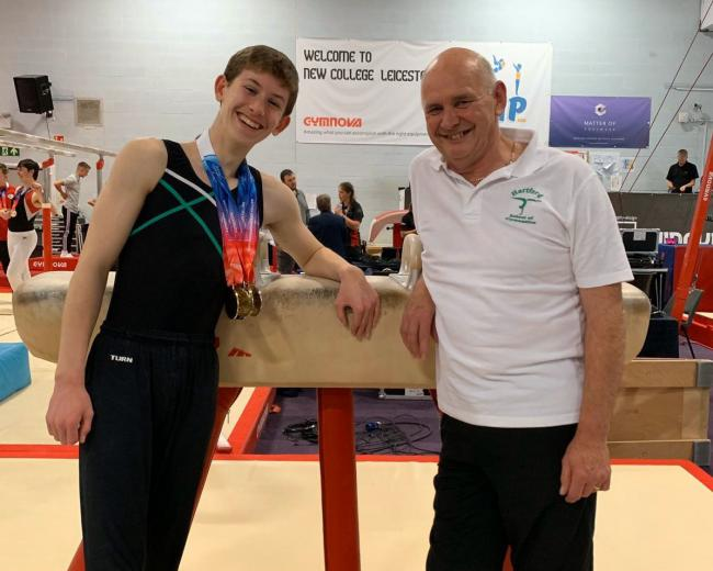 Newly crowned British champion Charlie Welsh, 14, with his Hartford School of Gymnastics coach Charlie Oakes