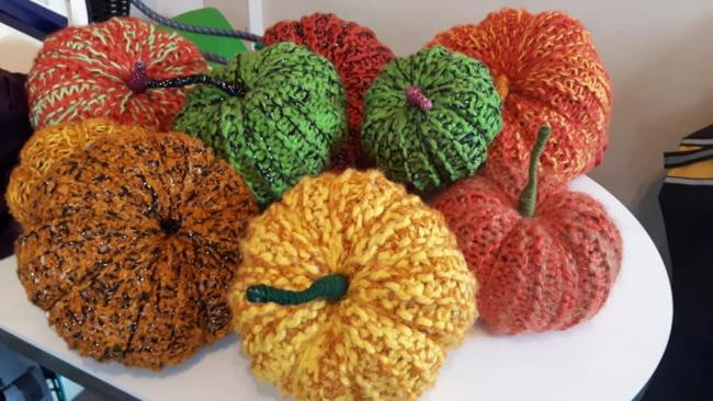 Knitted pumpkins are being made by members of Rudheath and Witton Together knit and natter group