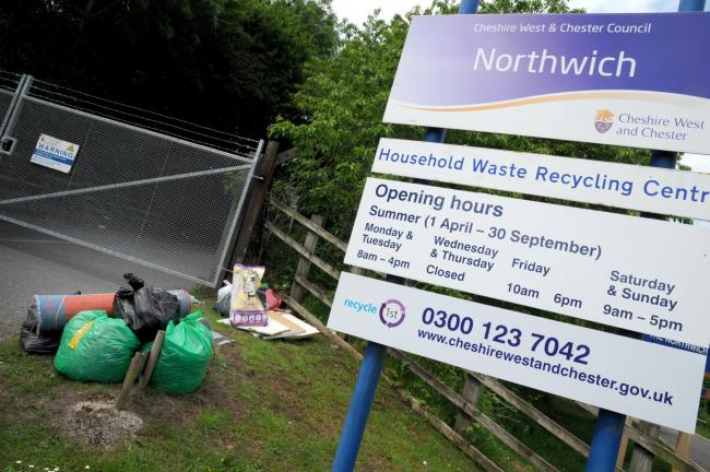 There were three incidents of fly-tipping outside Northwich tip in the first year since its opening hours were slashed
