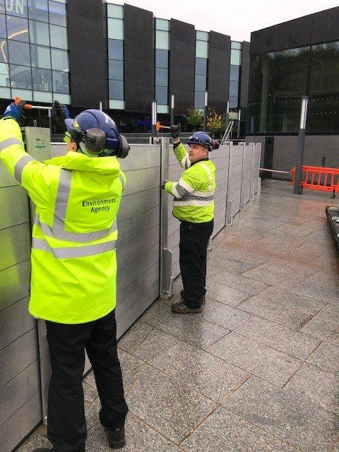 Town centre flood barriers go up amid Met Office rain warning