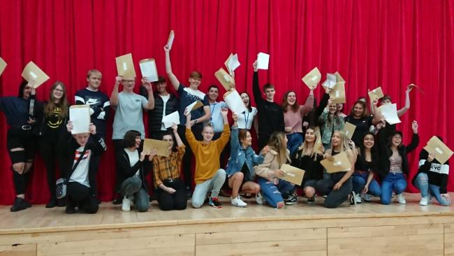 Students at Rudheath Senior Academy celebrating their successful GCSE results earlier this year
