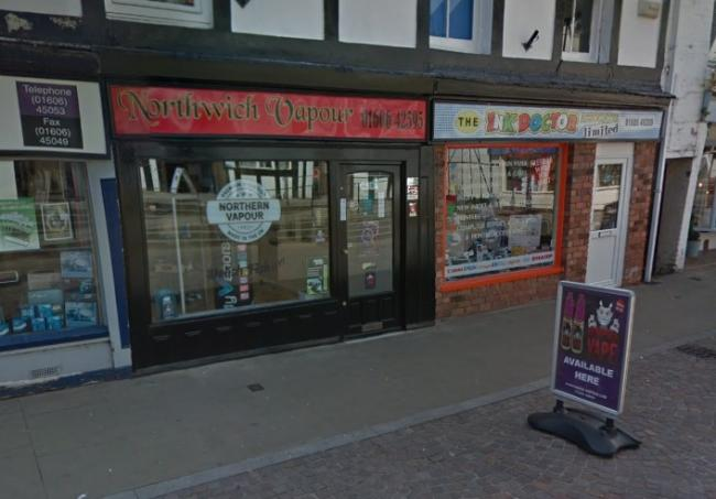 The items were stolen outside of Northwich Vapour on Witton Street (Credit: Google Maps)