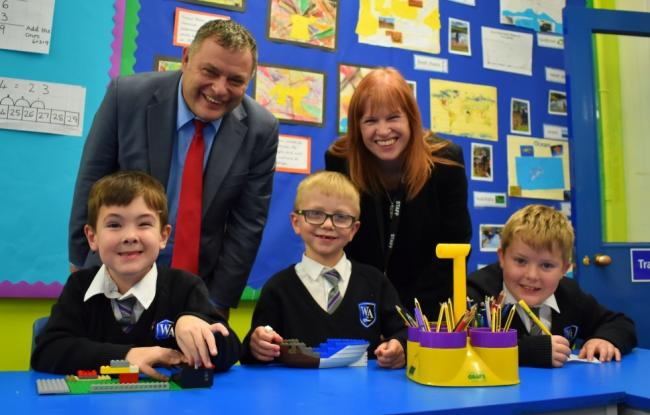 Mike Amesbury on his tour of Weaverham Primary Acaedemy with executive headteacher Fiona Whittaker