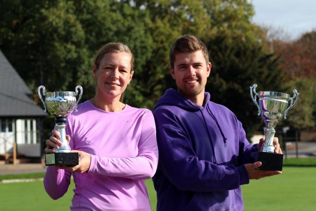 Hartford Tennis Club singles champions Helen Plumtree and Jarrod Wood with their trophies