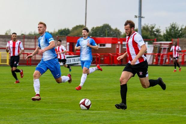 Will Jones on the attack for Witton Albion. Picture: Karl Brooks Photography
