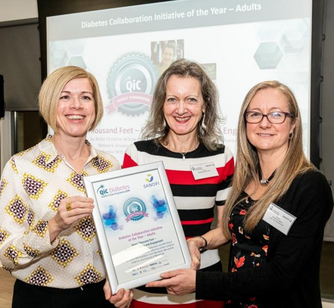 From left, Katherine Grady, Christine Wilcox-Baker, Dr Karen Cosgrove, University of Manchester lecturer, at the Quality in Care awards