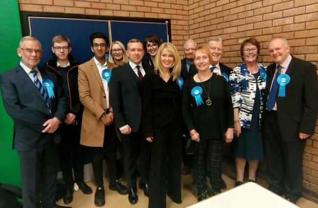 Esther McVey celebrates with her team