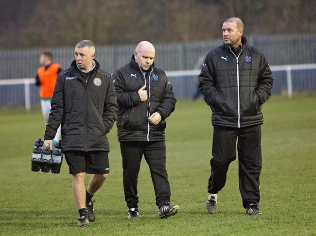 Northwich Victoria manager Steve Wilkes, centre. Picture: Angela Buckley