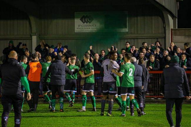 1874 jubilant after victory over Witton Albion in the Cheshire Senior Cup first round. Picture: Karl Brooks Photography