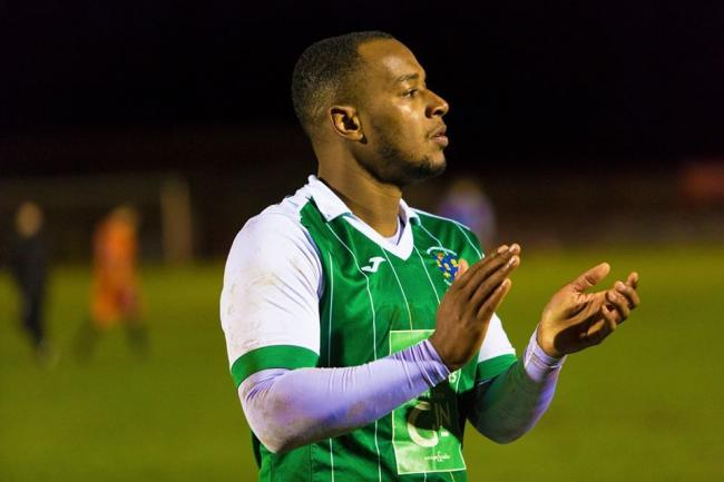 Aaron Burns scored twice for Northwich Victoria against Charnock Richard, including directly from a corner. Picture by Angela Buckley