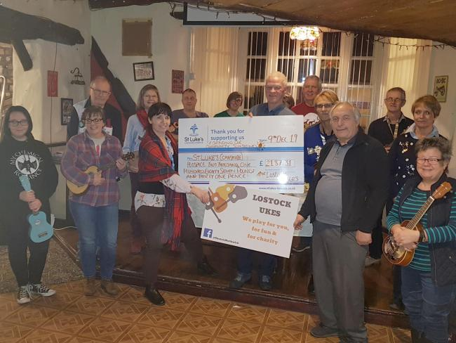 Lostock Ukes raised £2,187 for St Luke's Hospice after performing at 44 events last year