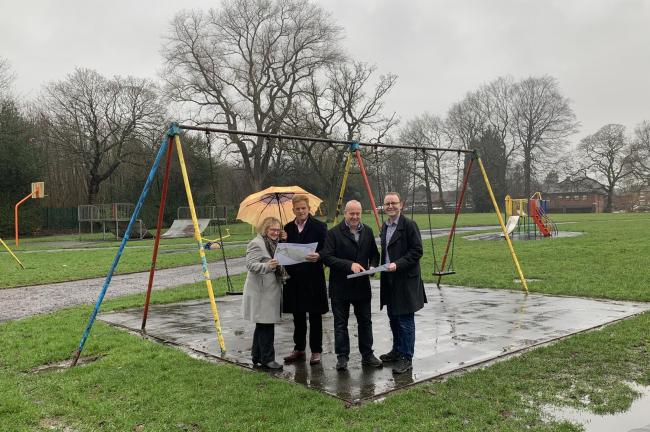 Cllrs Kate Cernik, Sam Naylor, Bob Cernik and Andrew Cooper at the current Verdin Park play area