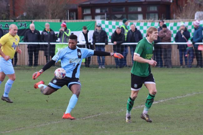 Tony Aghayere, 1874 Northwich goalkeeper, against Charnock Richard at the weekend. Picture: Frank Oakes