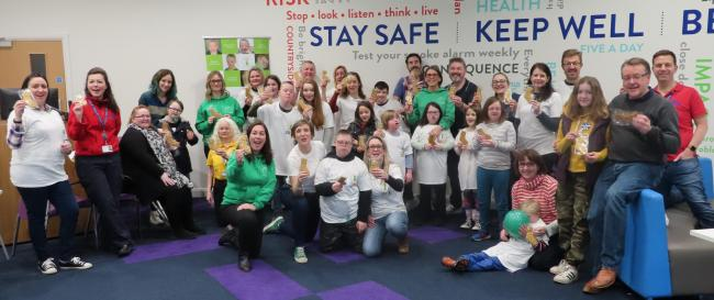 Cheshire children with Down's Syndrome, their families and CDSSG staff launch this year's campaign
