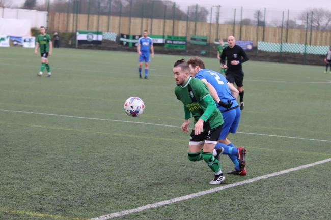 Callam Gardner on the ball against Skem on Saturday. Picture: Frank Oakes