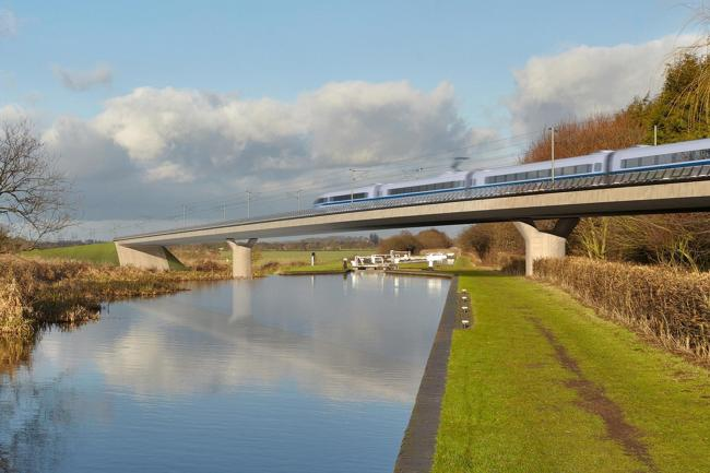 Artist's impression of an HS2 train on the Birmingham and Fazeley viaduc