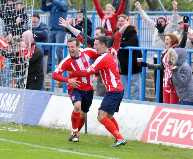 TOP PIC FLASHBACK: Celebrations after a Witton Albion goal, but do you remember who, where, when and any significance the goal had on the season. Look out for more flashback pictures in future weeks. Picture: Richard Holton