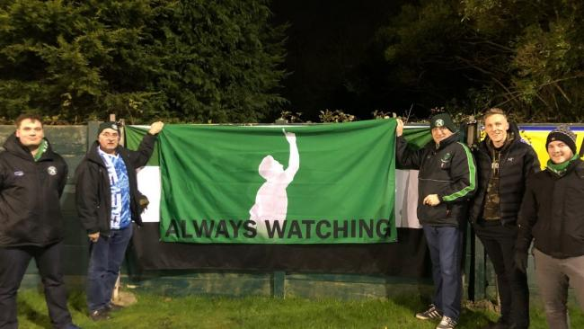 1874 Northwich football fans with the flag paying tribute to left back Matty Russell's late mother