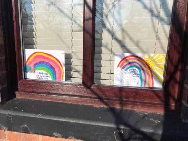 Why you might see paintings of rainbows in windows. Image: Lindsay Cook