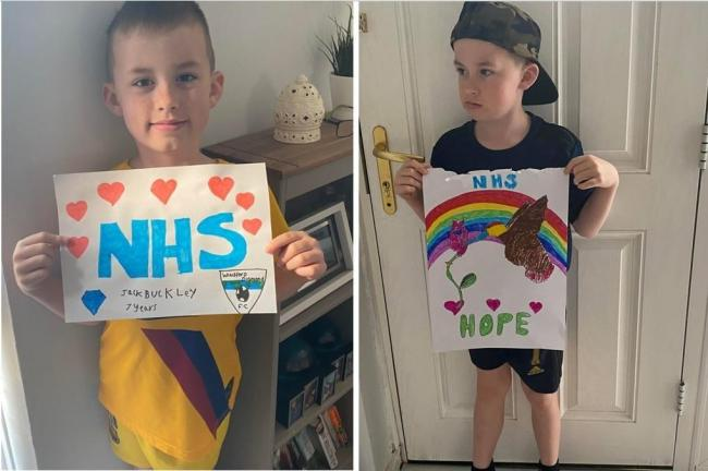 Winsford's Jack Buckley, 7, whose mum Lou is a healthcare worker, drew posters to encourage the community to show love for the NHS
