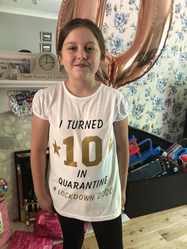 Charlotte Whittle's 10th birthday in lockdown on the 16th May Lots of love Daniel xx