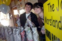 Northwich Guardian: Brother and sister Christy, 13, and Casey Wronko, 18, raffle bottles of water and wine to raise money for Jake.