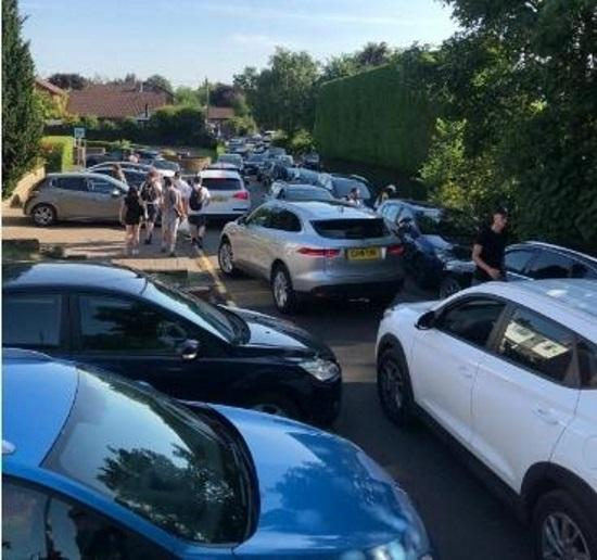 Parking chaos at Pickmere Lake as cars block roads, pavements and driveways. Picture submitted by Pickmere Parish Council