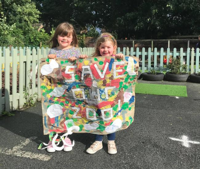 Children at Hartford Old School House Nursery thank the village community for their help in fundraising for Chester Zoo
